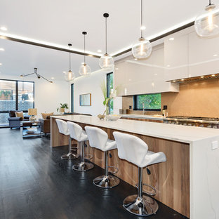 Contemporary kitchen ideas - Example of a trendy galley dark wood floor and brown floor kitchen design in Chicago with flat-panel cabinets, white cabinets, orange backsplash, mosaic tile backsplash, stainless steel appliances and an island