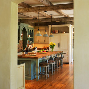 Photo of a mediterranean eat-in kitchen in DC Metro with wood benchtops, panelled appliances, green cabinets, a farmhouse sink, recessed-panel cabinets, dark hardwood floors and with island.