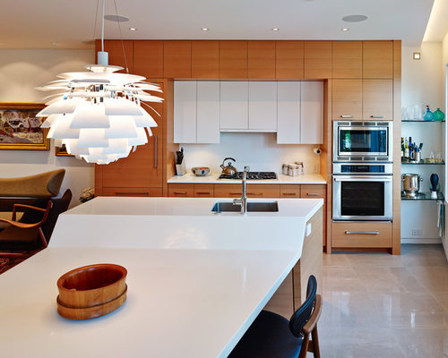inspiration for a modern galley eat in kitchen remodel in vancouver with an undermount sink - Drop Down Lights For Kitchen