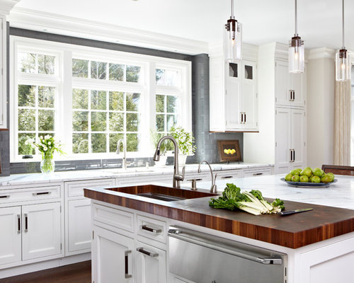 Elegant Kitchen Photo In New York With An Undermount Sink, Shaker Cabinets,  White Cabinets