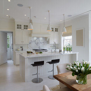 Photo of a scandinavian galley eat-in kitchen in Other with with island.