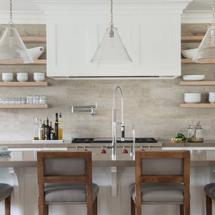 Transitional kitchen designs - Kitchen - transitional kitchen idea in New York with open cabinets, light wood cabinets, beige backsplash and an island