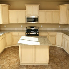 Traditional Kitchen New house...Distressed white Cabinets