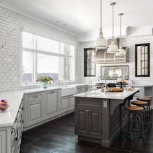 Industrial Touches Shine in a Charming Black-and-White Kitchen