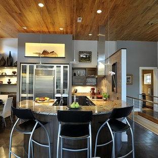 他の地域の中くらいのモダンスタイルのおしゃれなキッチン (フラットパネル扉のキャビネット、珪岩カウンター、オレンジのキッチンパネル、シルバーの調理設備、濃色無垢フローリング、ダブルシンク、紫のキャビネット、メタルタイルのキッチンパネル) の写真