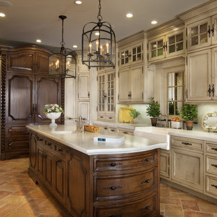 Large Mediterranean Enclosed Kitchen Liance Example Of A Tuscan U Shaped Travertine Floor