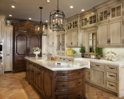 Large Mediterranean Enclosed Kitchen Appliance   Example Of A Large Tuscan  U Shaped Travertine Floor