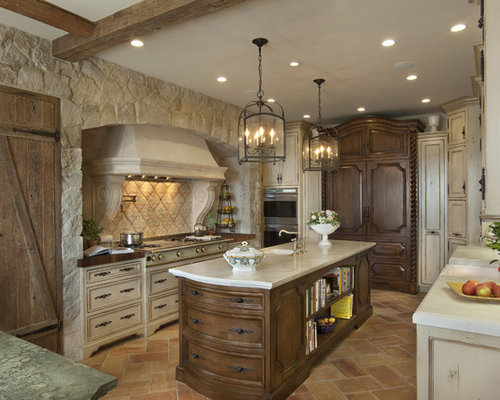 Large Mediterranean Enclosed Kitchen Remodeling   Large Tuscan U Shaped  Marble Floor And Brown Floor
