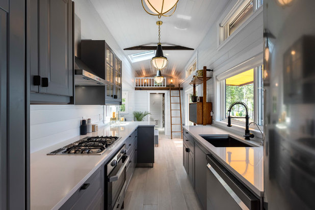 Transitional Kitchen by James Alfred Photography