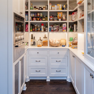 Inspiration for a traditional kitchen pantry in Seattle with recessed-panel cabinets, white cabinets, stainless steel appliances and dark hardwood flooring.