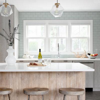 Kitchen - coastal kitchen idea in Boston