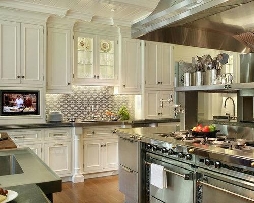 Tv in backsplash houzz for Boro kitchen cabinets inc