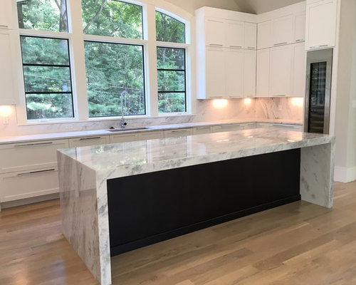 New Super White Quartzite With A Waterfall Island