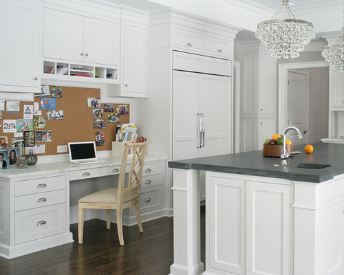 office in kitchen. inspiration for a transitional ushaped dark wood floor kitchen remodel in new york with office
