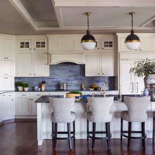 Transitional kitchen pictures - Kitchen - transitional l-shaped dark wood floor and brown floor kitchen idea in Denver with shaker cabinets, beige cabinets, blue backsplash, paneled appliances, an island and black countertops