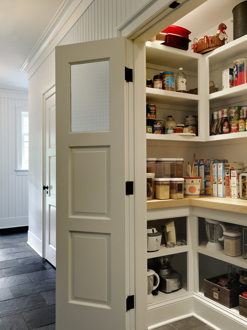 Kitchen Pantry   Traditional Kitchen Pantry Idea In New York With Open  Cabinets And White Cabinets