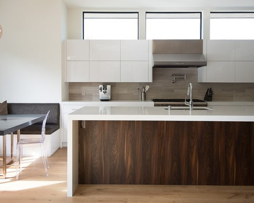 Contemporary Kitchen Ideas   Inspiration For A Contemporary Galley Medium  Tone Wood Floor And Brown Floor