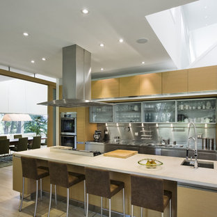 Example of a trendy kitchen design in Boston with paneled appliances