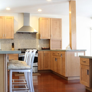 Inspiration For A Contemporary Kitchen Remodel In Los Angeles With Shaker Cabinets Light Wood