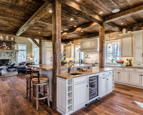 Rustic wood floor houzz Kitchen design newtown ct