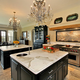 Inspiration for a classic kitchen/diner in San Diego with marble worktops, multiple islands and marble splashback.