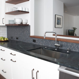 Inspiration for a modern kitchen in San Francisco with soapstone benchtops.