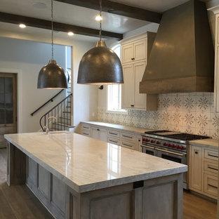 ヒューストンの中サイズのインダストリアルスタイルのおしゃれなキッチン (エプロンフロントシンク、シェーカースタイル扉のキャビネット、ヴィンテージ仕上げキャビネット、モザイクタイルのキッチンパネル、シルバーの調理設備の、濃色無垢フローリング) の写真