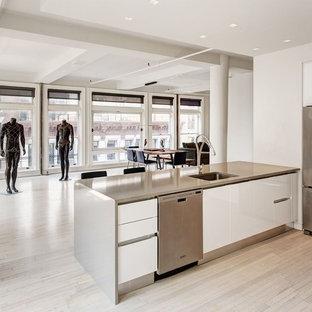 ニューヨークのモダンスタイルのおしゃれなキッチン (アンダーカウンターシンク、フラットパネル扉のキャビネット、黄色いキャビネット、ステンレスカウンター、シルバーの調理設備、淡色無垢フローリング) の写真