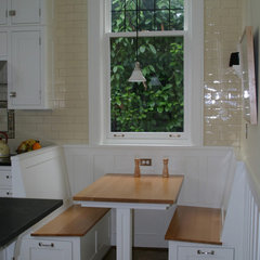 traditional kitchen Nook without the plastic on the window