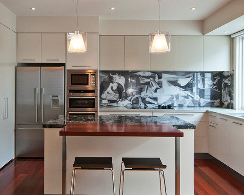 Inspiration For A Large Contemporary L Shaped Dark Wood Floor Open Concept Kitchen Remodel In