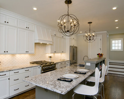 Large Transitional Medium Tone Wood Floor And Brown Floor Kitchen Idea In  Raleigh With Shaker Cabinets