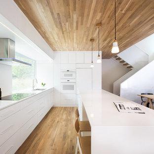 ミネアポリスのモダンスタイルのおしゃれなキッチン (フラットパネル扉のキャビネット、白いキャビネット、白い調理設備、無垢フローリング、茶色い床) の写真