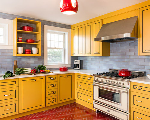 Orange Kitchen Design Ideas Renovations Photos With Yellow Cabinets