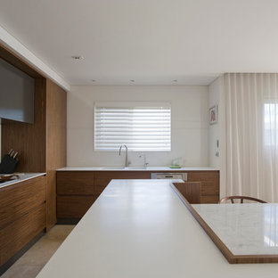 Open Concept Kitchen   Contemporary Open Concept Kitchen Idea In Sydney  With An Integrated Sink,