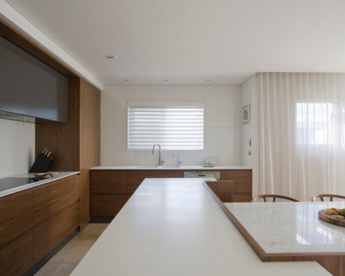 Contemporary open concept kitchen idea in Sydney with an integrated sink,  flat-panel cabinets