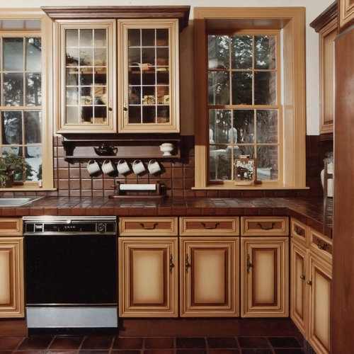 Country Kitchen With Maple Shaker Cabinets And Terra Cotta: Coffee Cup Racks