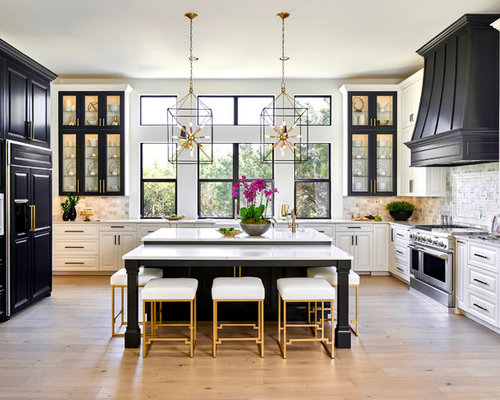 Example Of A Transitional U Shaped Light Wood Floor And Beige Floor Kitchen  Design In