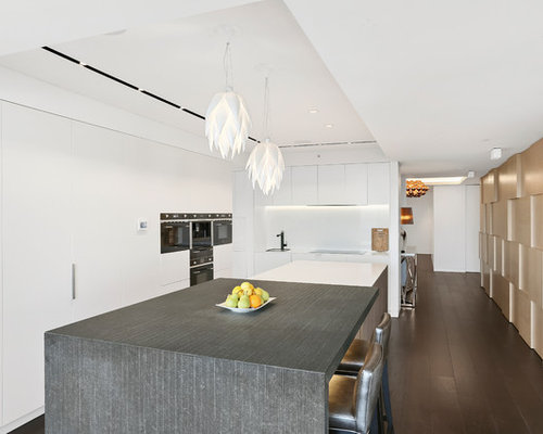 Inspiration for a large contemporary l shaped separate kitchen in sydney with an undermount sink