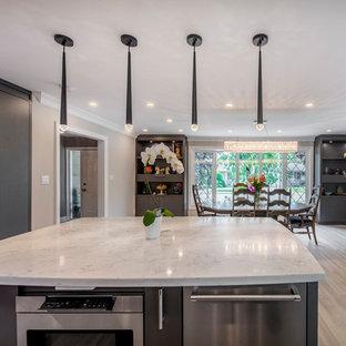 トロントの広いモダンスタイルのおしゃれなキッチン (エプロンフロントシンク、フラットパネル扉のキャビネット、白いキャビネット、珪岩カウンター、グレーのキッチンパネル、サブウェイタイルのキッチンパネル、シルバーの調理設備、クッションフロア、グレーの床、白いキッチンカウンター) の写真