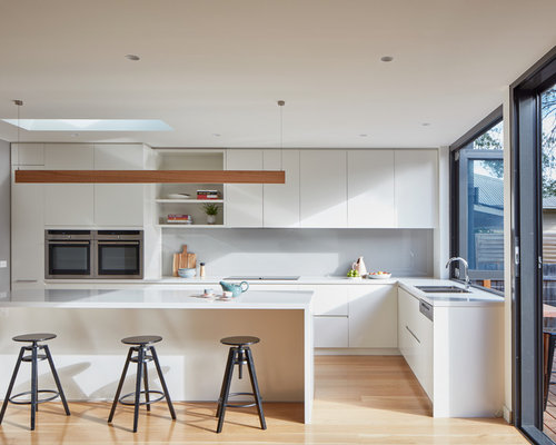 Inspiration For A Contemporary L Shaped Eat In Kitchen In Melbourne With A  Double Part 83