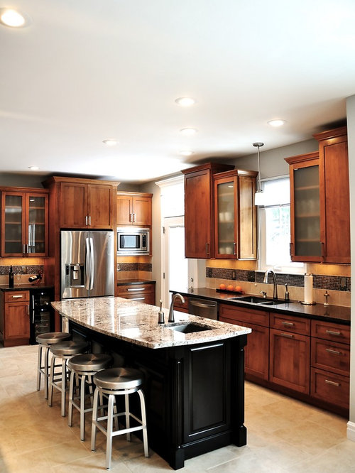 Transitional L Shaped Kitchen Photo In Dc Metro With Shaker Cabinets Medium Tone Wood