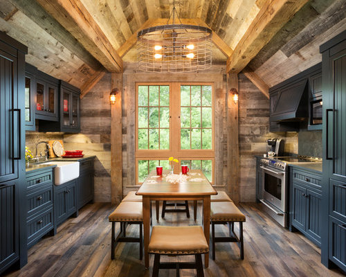 Mountain Style Galley Medium Tone Wood Floor And Brown Floor Eat In Kitchen  Photo In