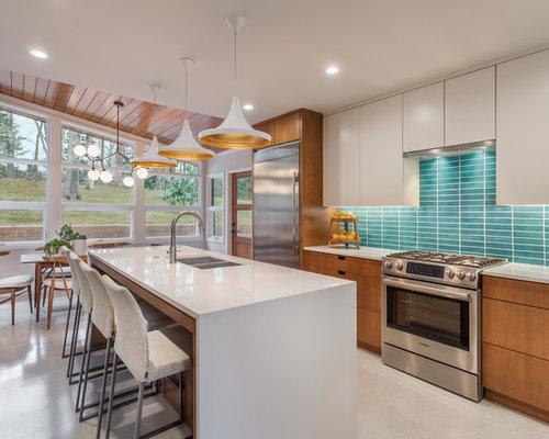25 best midcentury modern kitchen ideas designs houzz - Mid century kitchen cabinets ...