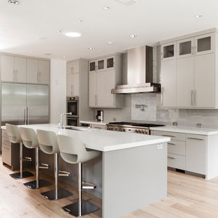 Example of a trendy l-shaped kitchen design in Dallas with flat-panel cabinets, gray cabinets, gray backsplash and stainless steel appliances