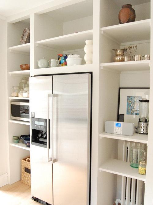 open kitchen refrigerator shelves around refrigerator houzz