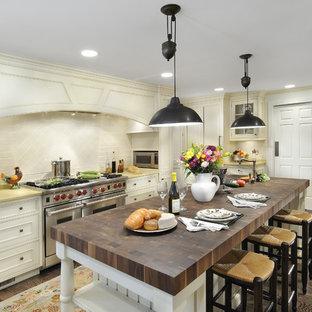シカゴのヴィクトリアン調のおしゃれなキッチン (シルバーの調理設備の、木材カウンター) の写真