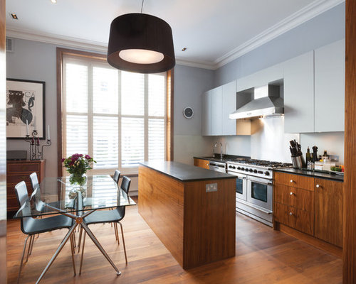 Narrow kitchen houzz for Kitchen island for narrow kitchen