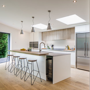 Photo of a medium sized modern galley kitchen in Hertfordshire with flat-panel cabinets & 75 Most Popular Grey Kitchen Design Ideas for 2018 - Stylish Grey ...