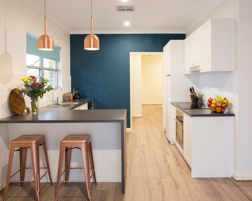 Inspiration For A Transitional Kitchen In Adelaide With Recessed Panel  Cabinets, White Cabinets And