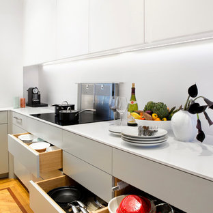Modern kitchen remodeling - Example of a minimalist kitchen design in New York
